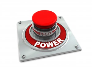 3d illustration of red button with text 'power' on white background;